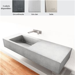 Lavabo suspendu 120x45 cm design SLANT 01 SINGLE de Gravelli, 0-3 trous, béton poli 3 coloris