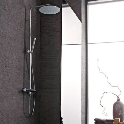 Colonne douche thermostatique design rond, pommeau Ø30 cm, 5 finitions