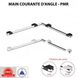 Main courante en angle pour PMR, 4 points de fixation, ONYX, inox chromé