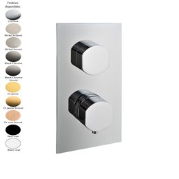 Mitigeur thermostatique douche encastré, inverseur 2 sorties, design HEDO de Treemme, 5 finitions