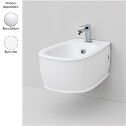 Bidet suspendu design AZULEY, 1 trou, céramique, blanc brillant ou mat