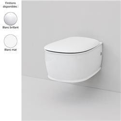 Cuvette WC suspendue design AZULEY, céramique blanc brillant ou mat