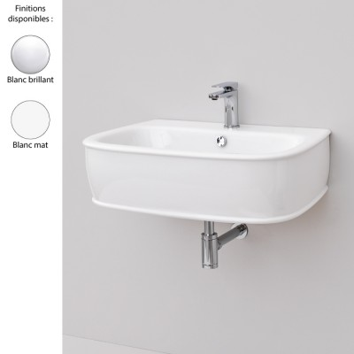 Lavabo suspendu 72x50 cm design AZULEY, 1 à 3 trous, céramique blanc brillant ou mat