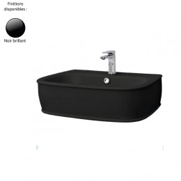 Lavabo suspendu 72x50 cm design AZULEY, 1 à 3 trous, céramique noir brillant